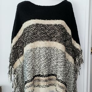 Chico's Fringed Poncho Sweater Size L/XL